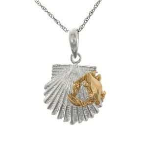 Silver Scallop Shell Charm, 14k Gold Crab Necklace
